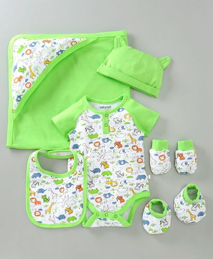 Babyoye Cotton Clothing Gift Set of 6 - Green White