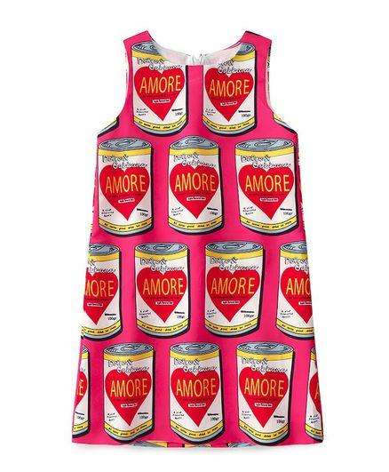 Awabox Sleeveless Amore Canned Juice Print Dress - Dark Pink