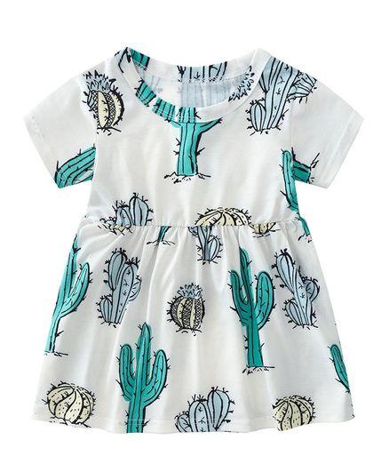 Awabox All Over Cactus Print Half Sleeves Dress - White