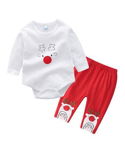 Awabox Full Sleeves Reindeer Print Onesie & Bottom Set - White