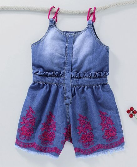 99ef6aaef850 Buy Little Kangaroos Sleeveless Jumpsuit Floral Embroidered Blue for ...