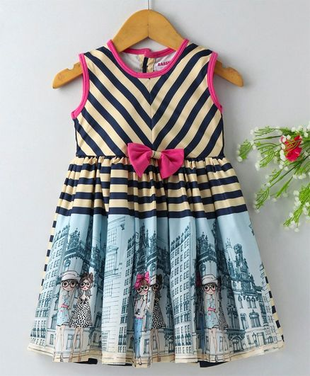 Rassha Striped & Girl Print Sleeveless Dress - Beige