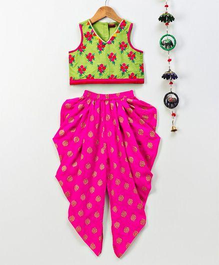 Twisha Flower Embroidered Sleeveless Top With Dhoti Set - Pink