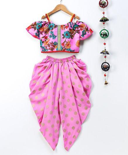 Twisha Floral Print Half Sleeves Top With Dhoti Set - Pink