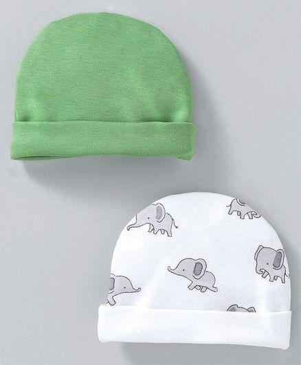 Ben Benny Round Caps Elephant Print Pack of 2 - White Green
