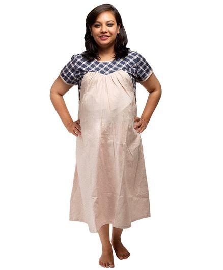 Uzazi Checks Half Sleeves Nursing Dress - Beige & Blue