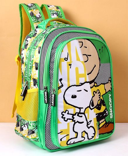 4d0835366aad Peanuts Snoopy Print School Bag Green Height 16 Inches Online in ...
