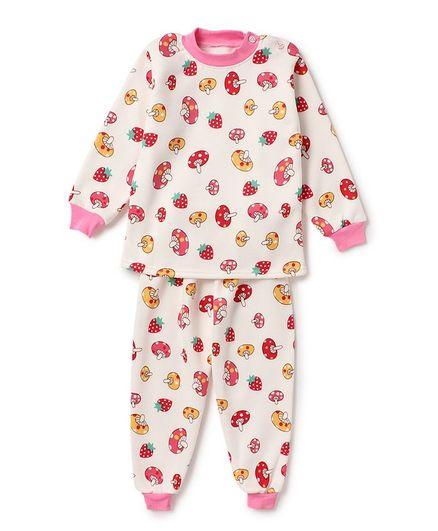 Awabox Mushroom Print Full Sleeves Night Suit - Pink & Beige