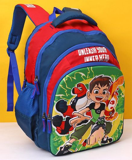 Ben 10 School Bag Blue Red - Height 16 inches