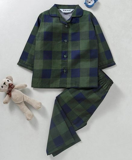 Enfance Core Checks Full Sleeves Night Suit - Green