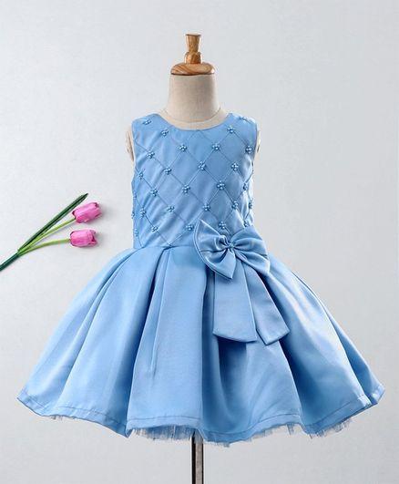 Enfance Sleeveless Beads Embellished Fit & Flare Dress - Blue