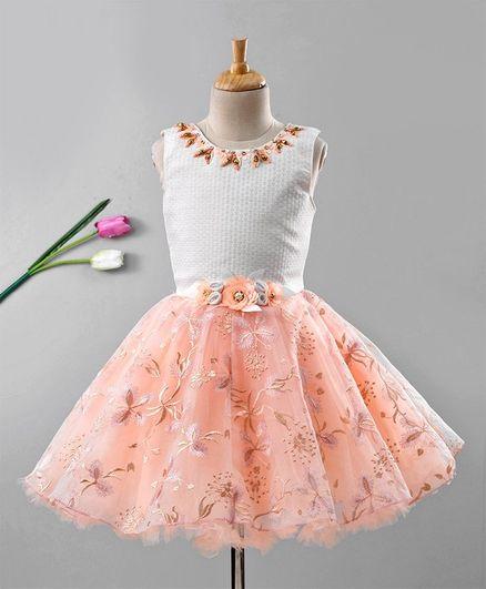 Enfance Flower Embroidered Sleeveless Flare Net Dress - White & Peach