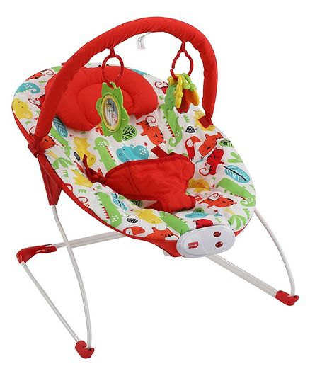 LuvLap Jungle Hop Bouncer With Detachable Toy Bar - Red