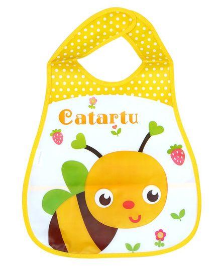 1st Step Bee Printed Bib With Crumb Catcher - Yellow