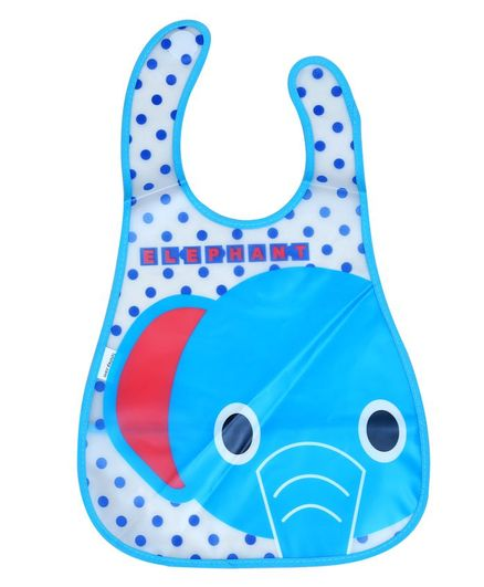 1st Step Water Resistant Bib Elephant Print - Blue
