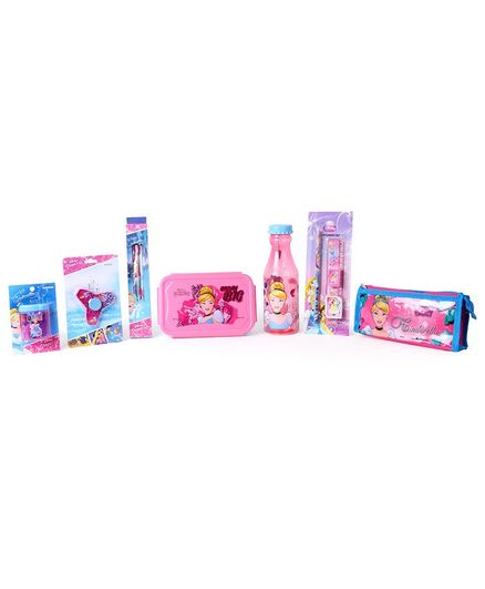 Disney Princess School Kit Pack Of 7 - Pink & Blue