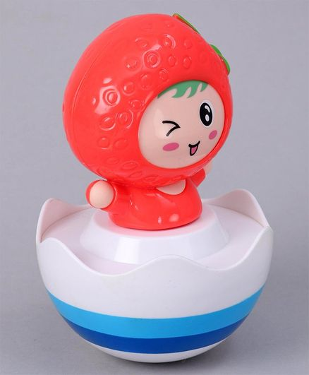 Strawberry Shaped Roly Poly Toy - White Red
