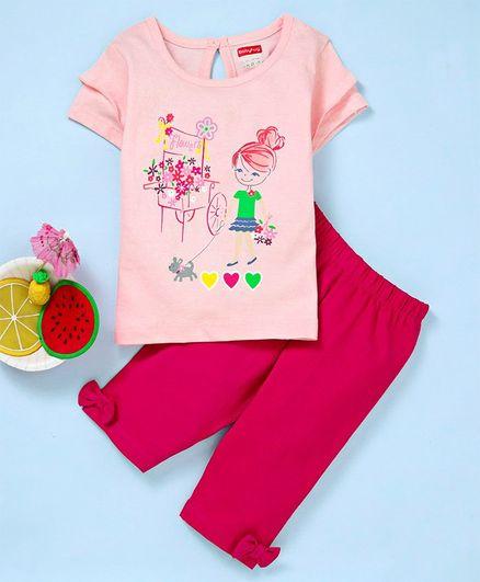 Babyhug Half Sleeves Tee And Leggings Girl Print - Peach Pink