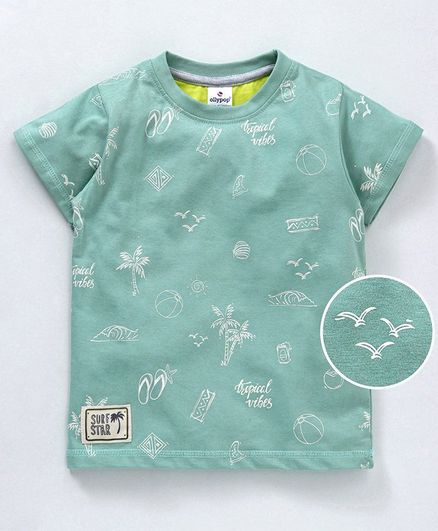 Ollypop Half Sleeves Tee Tree Print - Green