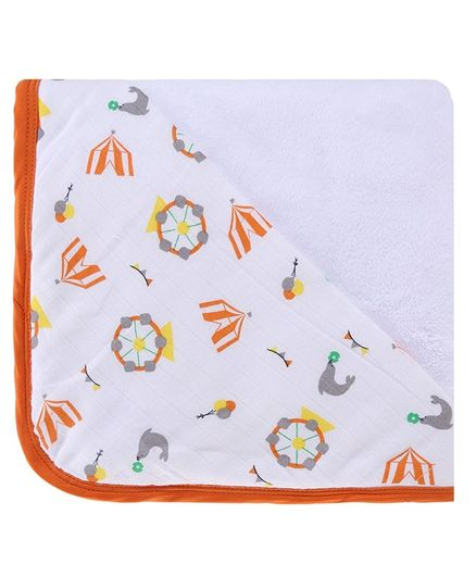 My Milestones Infant Hooded Towel Wrap - White Orange