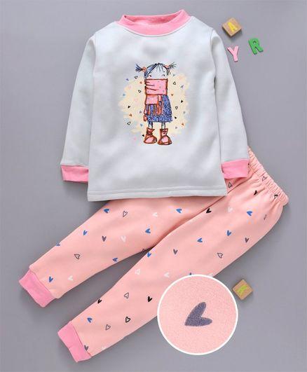 Kookie Kids Full Sleeves Night Suit Girl Print - Peach
