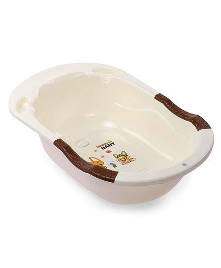 Baby Bath Tub Animal Print - Off White Brown