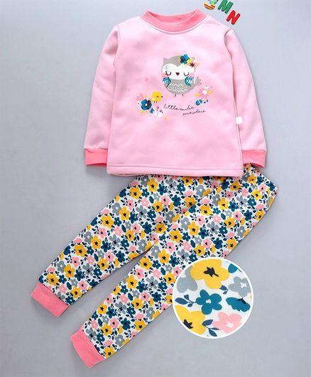 Kookie Kids Full Sleeves Night Suit Owl Print - Pink
