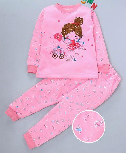 Kookie Kids Full Sleeves Night Suit Girl Print - Pink