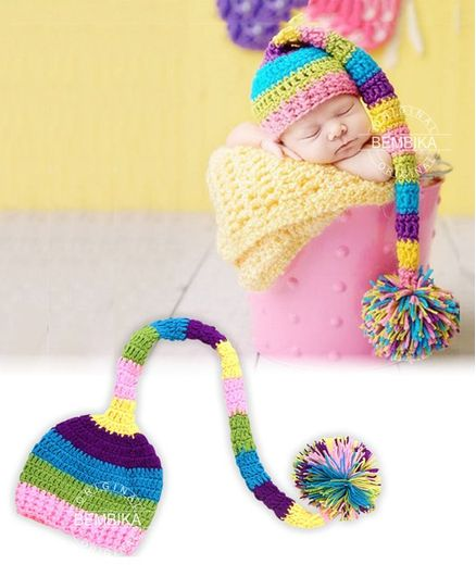 Bembika Newborn Knitted Crochet Long Tail Hat - Multicolor