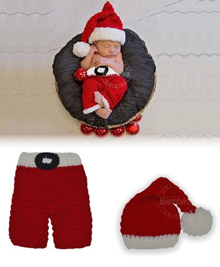Bembika Newborn Lovely Knitted Christmas Cap and Pants Photography Prop - Set of 2