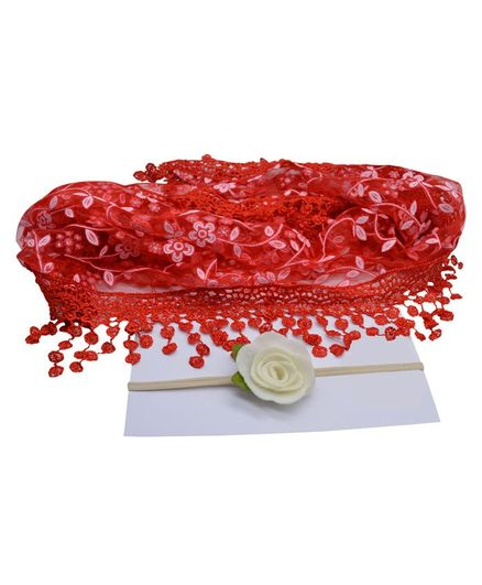 Bembika Newborn Baby Embroidery Lace Wrapper For Baby Photography Props - Red