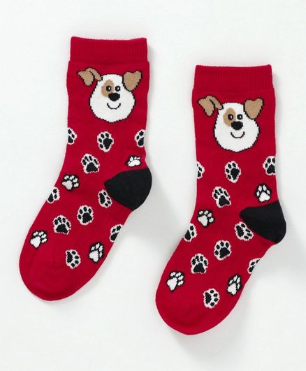 Mustang Quarter Length Socks Doggy And Paw Design - Red
