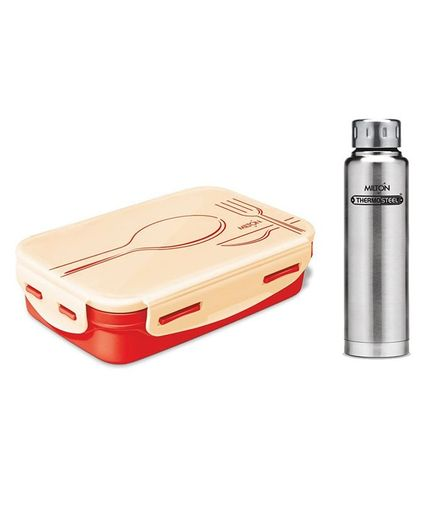 Milton Elfin Hot & Cold Insulated Bottle With Orange Steely Tiffin Combo