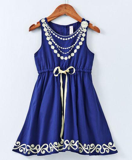Kiddopanti Sleeveless Necklace Embroidered Dress - Navy Blue