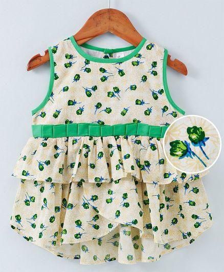 Kiddopanti Sleeveless Rose Print Layered Dress - Green