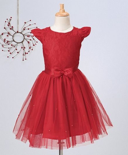 Pikaboo Solid Cap Sleeves Net Dress - Red