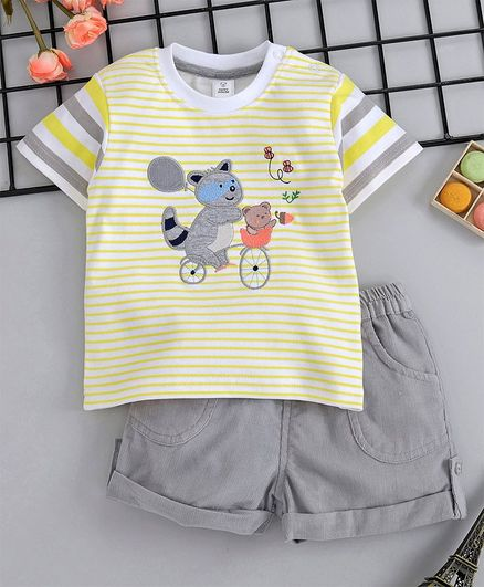 ToffyHouse Cartoon Patch Stripped Tee With Shorts - Yellow Grey