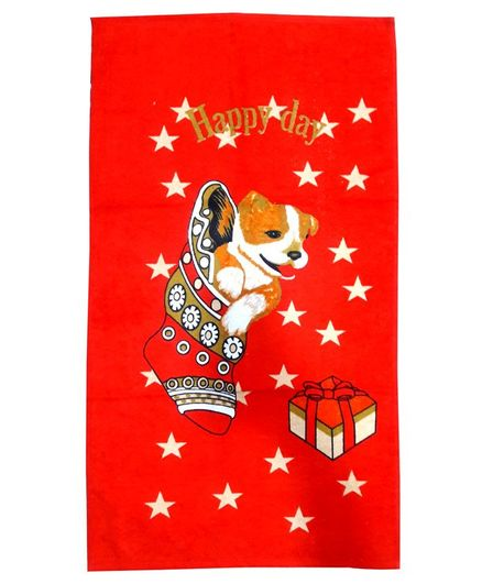 Sassoon Towel Cartoon Print - Red