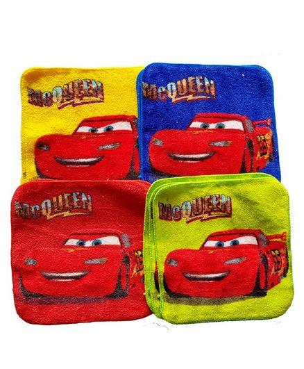 Sassoon Disney Pixar Car Printed Cotton Face Towel Set of 12 - Multicolor