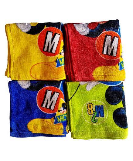 Sassoon Disney Mickey Printed Cotton Face Towel Set of 12 - Multicolor