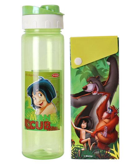 Disney Jungle Book Print Water Bottle With Pencil Box - Green