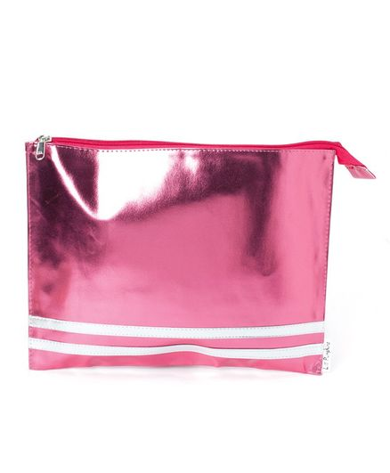 Rv Praman Mettalic Leatherette Zip Folder - Pink