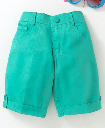 Rikidoos Solid Rolled Up Hem Shorts - Sea Green