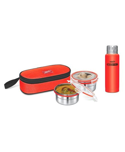 Milton Steel Meal Softline 2 Pieces Steel Tiffin With 300 ml Steel Plain Elfin Thermosteel Insulated Bottle - Red