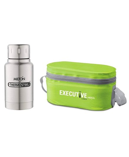 Milton Steel Lunch Box Set With 160 ml Steel Plain Elfin Thermosteel Insulated Bottle - Green