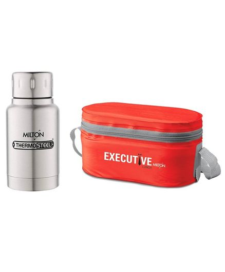Milton Steel Lunch Box Set With 160 ml Steel Plain Elfin Thermosteel Insulated Bottle - Red