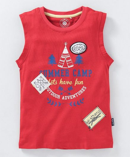 JusCubs Summer Camp Lets Have Fun Printed Sleeveless T-Shirt - Red