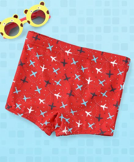Babyhug Swimming Trunks Aeroplane Print - Red