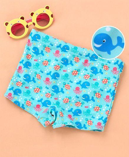 Babyhug Swimming Trunk Fish Print - Blue
