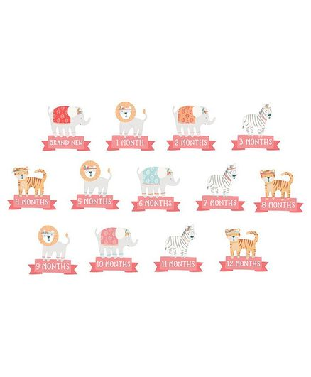 Pearhead First Year Belly Sticker Pink - Pack of 13